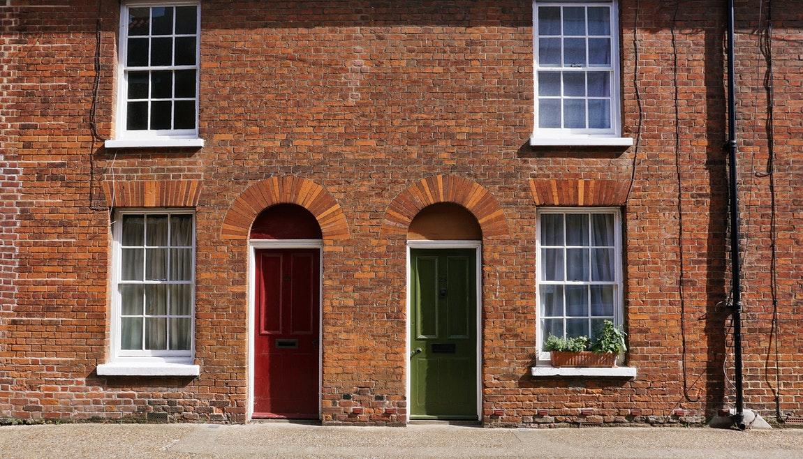brick doors colorful